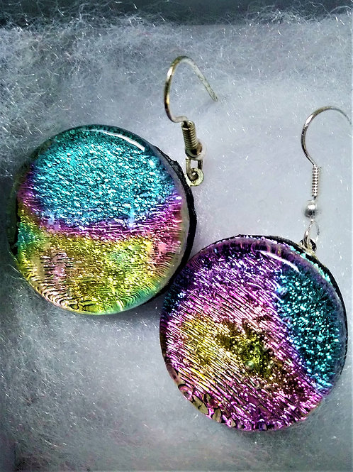 Blue/Purple/Gold Fused Glass Earrings