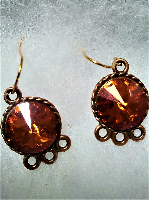 Copper Swarovski Crystal Earrings