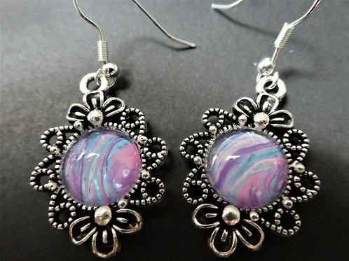 Pink/Blue/Purple Drop Earrings