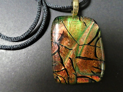 Copper/green Fused Glass Necklace