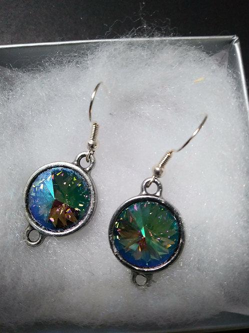 Green Iridescent Swarovski Crystal Earrings