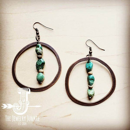 Copper Hoop Earrings with Natural Turquoise and Wood