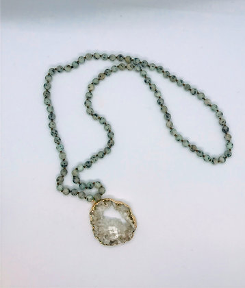 Frosted Stone Necklace W/ White DruzyJJ