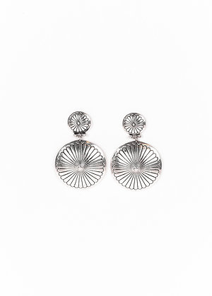 Silver Round Double Concho Earring