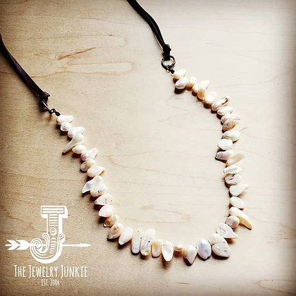Freshwater Pearl Necklace With Genuine Leather Ties