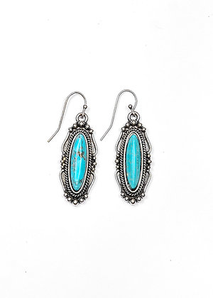 Silver Oval Earring with Turquoise Stone on Fish Hook