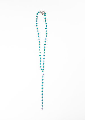 Turquoise Squatty cross Y Necklace
