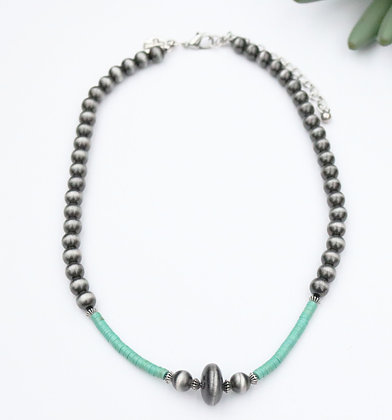 """18"""" Faux Navajo Pearl and Turquoise Necklace"""