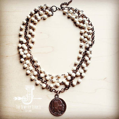 White Turquoise And Copper Necklace with Copper Coin