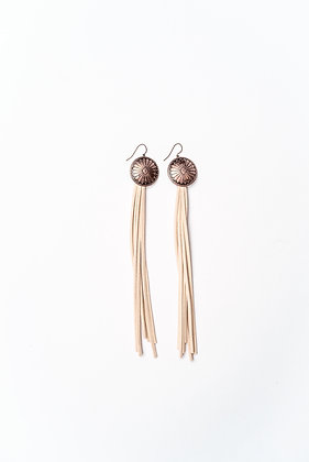 Copper Concho with Ivory Leather Tassel