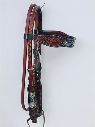 Beaded Browband Headstall- Aztec Gold