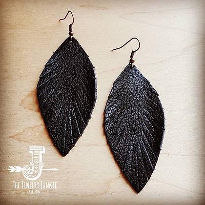 Black Suede Feather Earrings-Medium