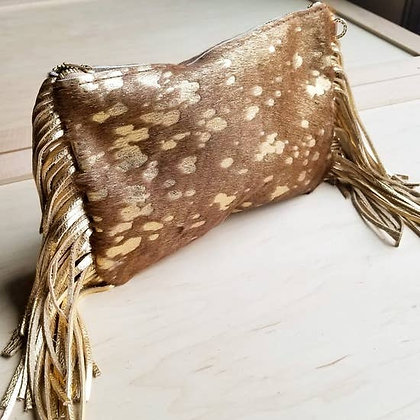 Metallic Gold Cowhide Crossbody Purse