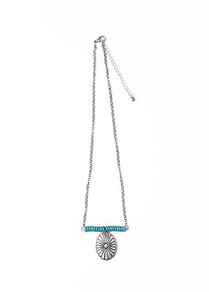 Turquoise Beaded Bar Necklace with Silver Concho Accent