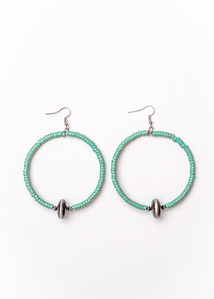 Green Turquoise Dangle Hoop Earring with Faux Navajo Pearl Accent