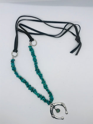 Turquoise & Leather Necklace w/ Naja Pendant JJ