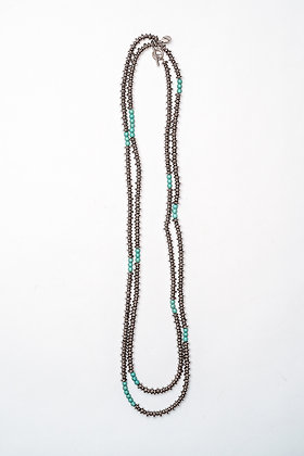 "Silver & Turquoise 66"" Stone Necklace"