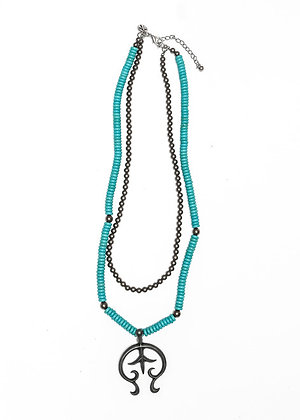 Turquoise and Pewter Bead Necklace with Burnished Silver Naja Pendant