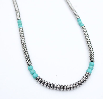 Silver Beaded with Turquoise accent