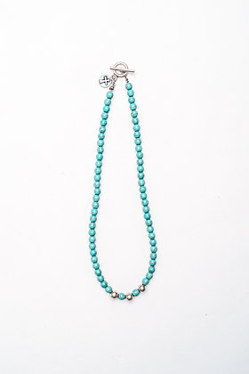 Turquoise Choker with Silver Beads