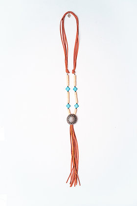 "Ivory and Turquoise Beaded Necklace W/ 9"" Rust Leather Tassel  and Silver Conch"