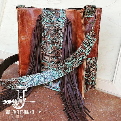 Handbag with Turquoise Brown Floral Accents