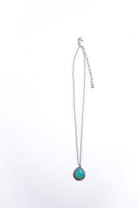 Rounded Navajo Pendent with Turquoise Stone on Silver Chain