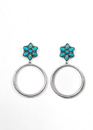 Earrings Hoop Turquoise Flower Post
