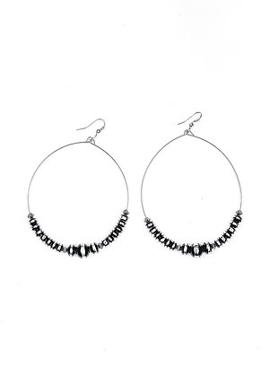 Black and Silver Rondell Beaded Wire Dangle Hoop