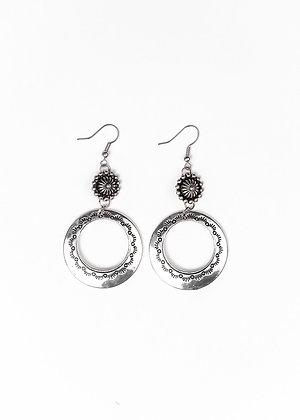 Silver Stamped Hoop Earring