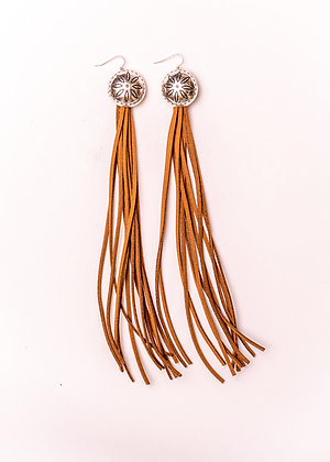 Silver Flower Concho with Brown Leather TasseL