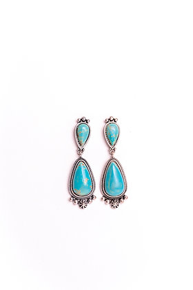 Turquoise Tear Drop Post Earring with Silver Embellishment