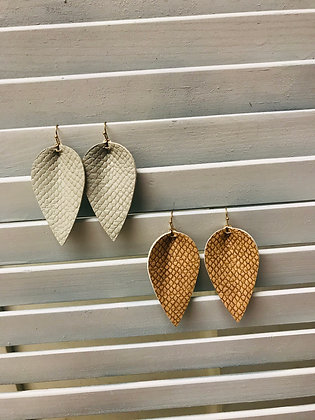 Python Embossed Leather Earrings