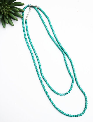 66' LONG TURQUOISE RONDELL BEAD NECKLACE