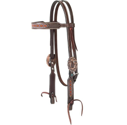 Beaded Browband Headstall- Turquoise Cross