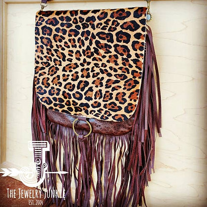 Leopard Flap Crossbody Handbag