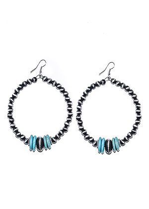 Navajo Pearl & Turquoise Accents Hoop Earrings