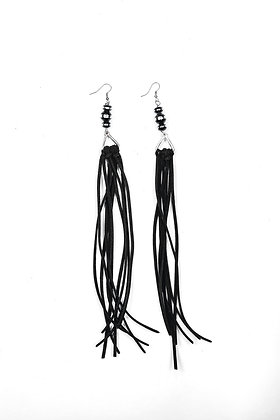 Black Faux Leather Fringe Earring with Black and Silver Rondell Bead Accent
