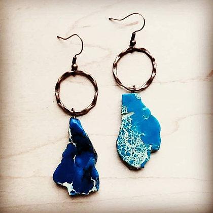 Blue Regalite Chunky Earrings