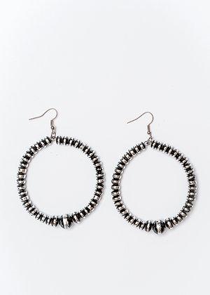 Silver & Black Rondell Bead Dangle Hoop Earring
