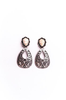Silver Aztec Hammered Earrings with Ivory Accent