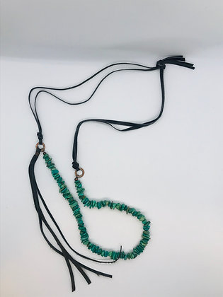 Natural Turquoise Necklace w/ Leather Side Tie
