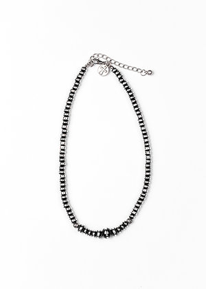 Burnished Silver & Black Rondell Single Strand Necklace