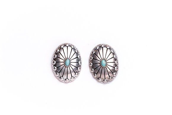 Silver Studded Concho Post Earring with Turquoise Accent