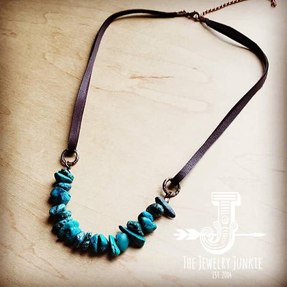 Natural Turquoise Leather Cord Necklace