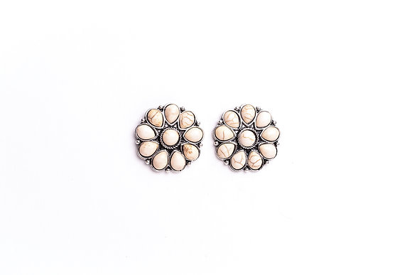 Burnished Silver and Ivory Flower Stud Earring