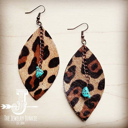 Leather Oval Earrings Leopard with Turquoise Drop