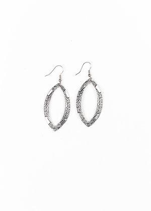 Silver Stamped Diamond Shaped Earrings