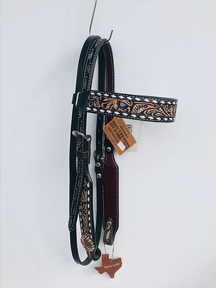 Chocolate Floral Buckstitch Browband Headstall