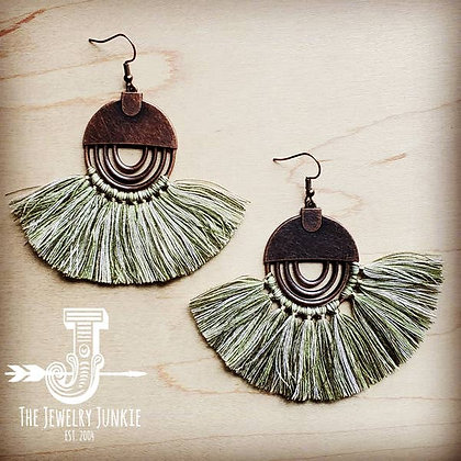 Army Green Fan Tassel Earrings